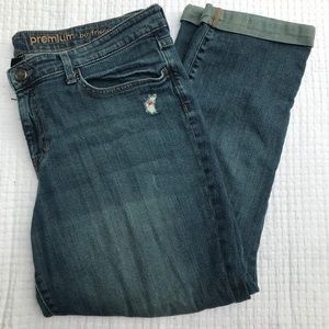 Distressed gap premium boyfriend jeans size 16/33